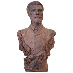 19th Century French Terracotta Bust of a Musician with Signature