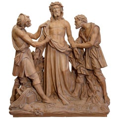 19th Century French Terracotta Christ before Crucifixion Composition Sculpture