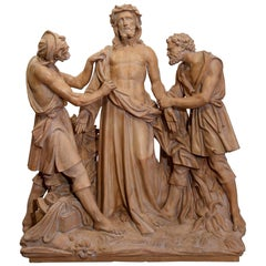 19th Century French Terracotta Christ Sculpture Composition before Crucifixion