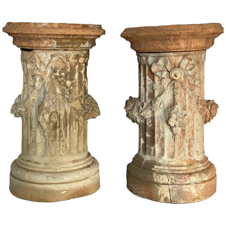 19th Century French Terracotta Garden Columns by Louis Gossin, Paris For Sale