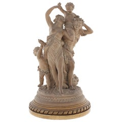 19th Century French Terracotta Group of the Triumph of Bacchus after Clodion