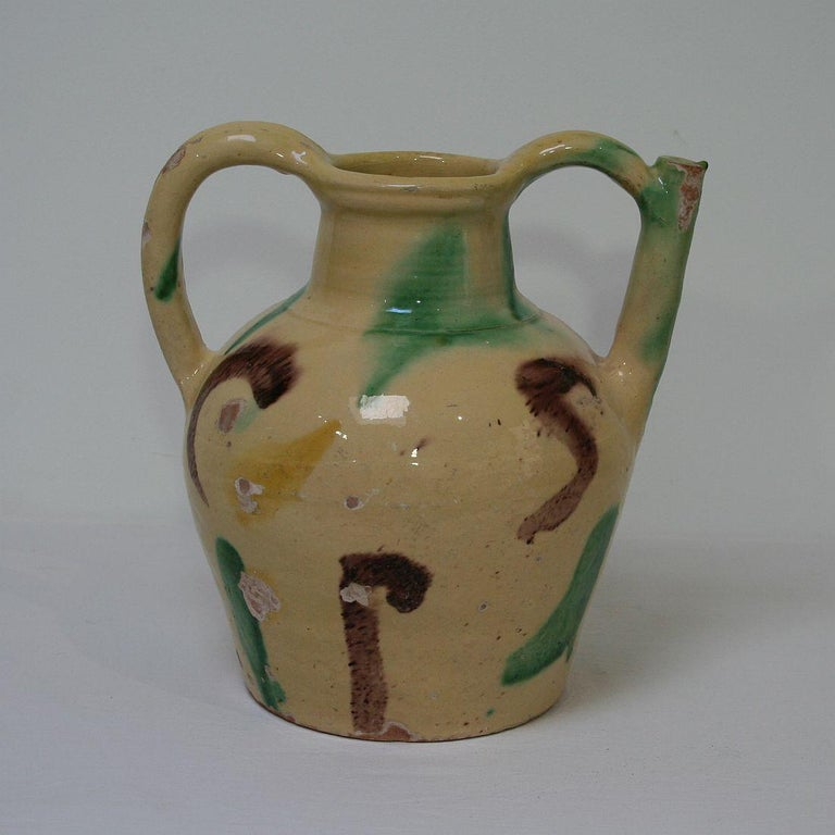 Hand-Crafted 19th Century French Terracotta Jug or Water Cruche For Sale