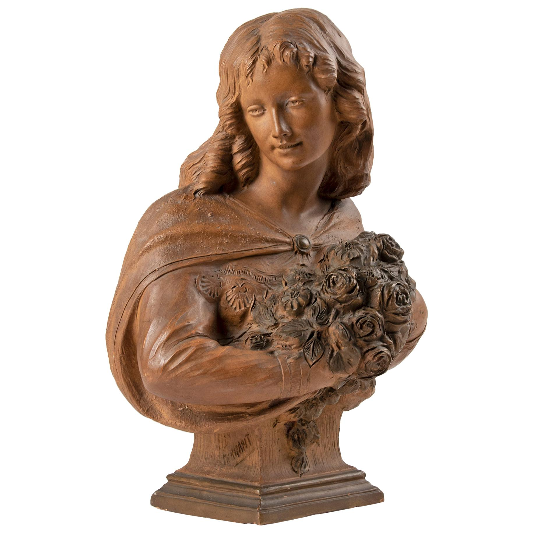 19th Century French Terracotta Statue of a Flower Girl by Ferrant