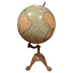 19th Century French Terrestrial Globe on Iron Stand Signed J. Lebegue & Cie