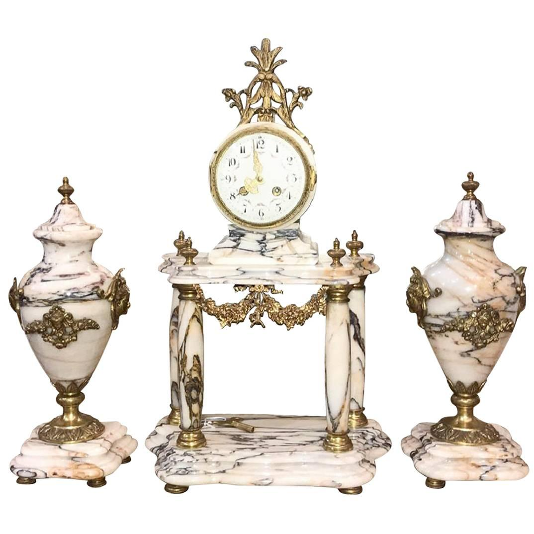 19th Century French Three-Piece Clock Garniture