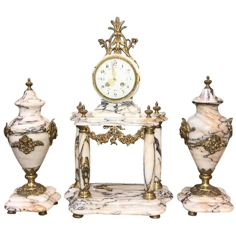 19th Century French Three-Piece Clock Garniture For Sale
