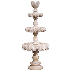 19th Century French Three-Tier Carved Alabaster Display Centrepiece