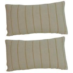 19th Century French Ticking Stripe Pair of Lumbar Decorative Pillows
