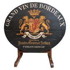 19th Century French Tilt-Top Table Wine Tasting Oval Painted Black Grand Cru