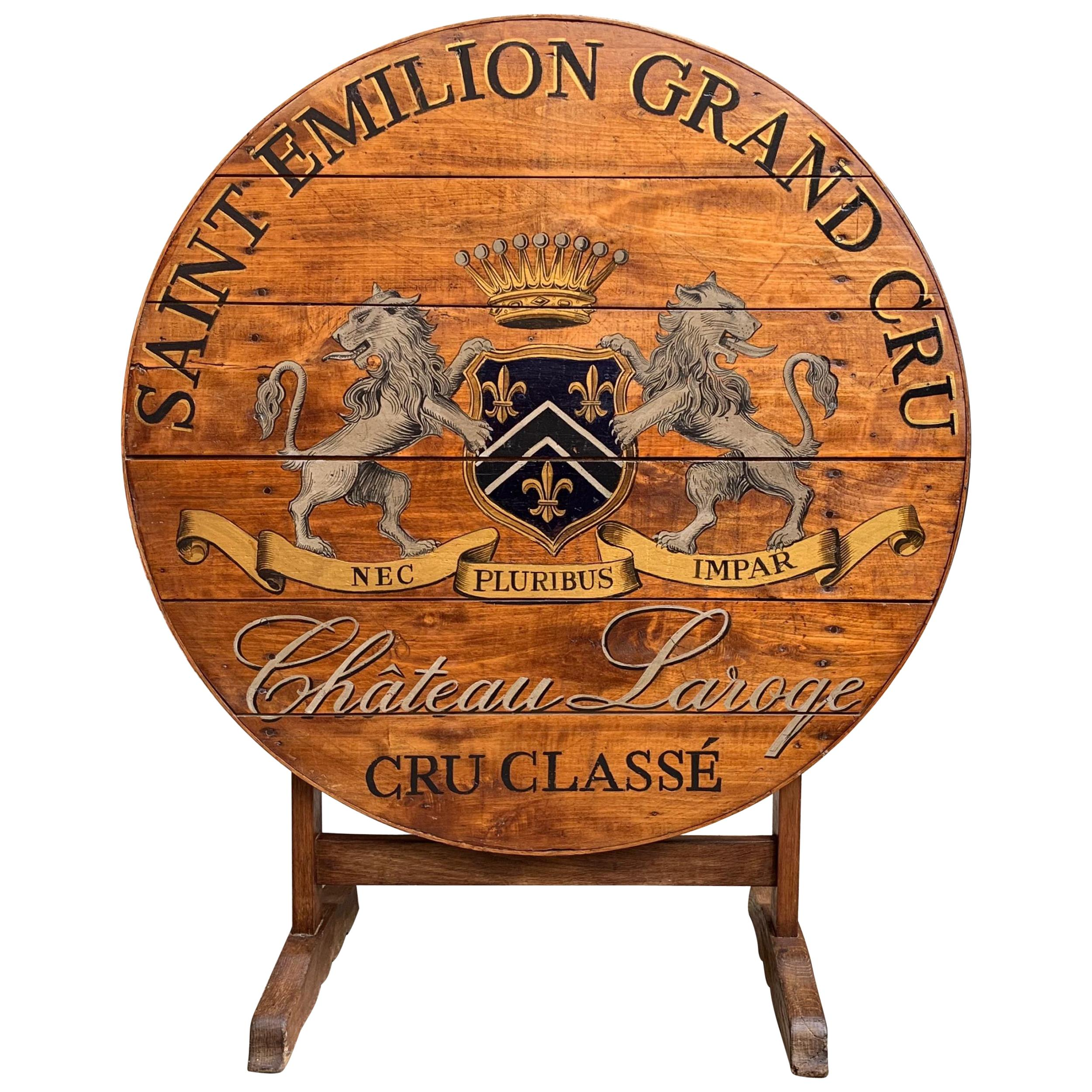19th Century French Tilt-Top Table Wine Tasting Round Oak Hand Painted Grand Cru