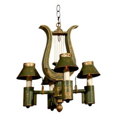 French Neoclassical Style Painted Tôle Four-Light Chandelier with Lyre Motif