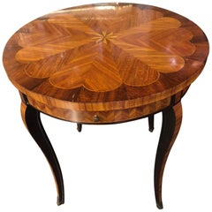 19th Century French Traditional Inlaid Mahogany Side Table