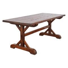 19th Century French Trestle Farm Table