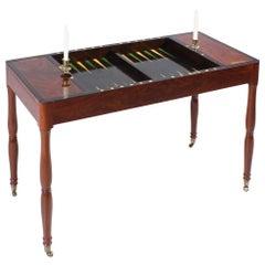 19th Century French Tric Trac Table, Backgammon Game Table, Mahogany, circa 1850
