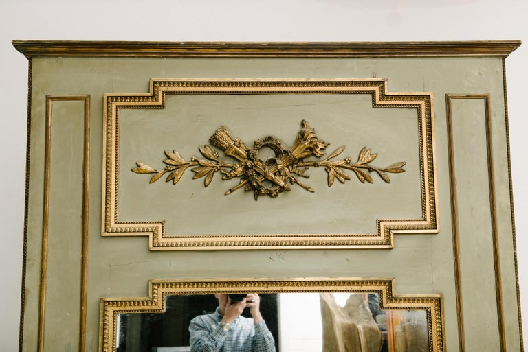 Hand-Painted 19th Century French Trumeau Mirror For Sale