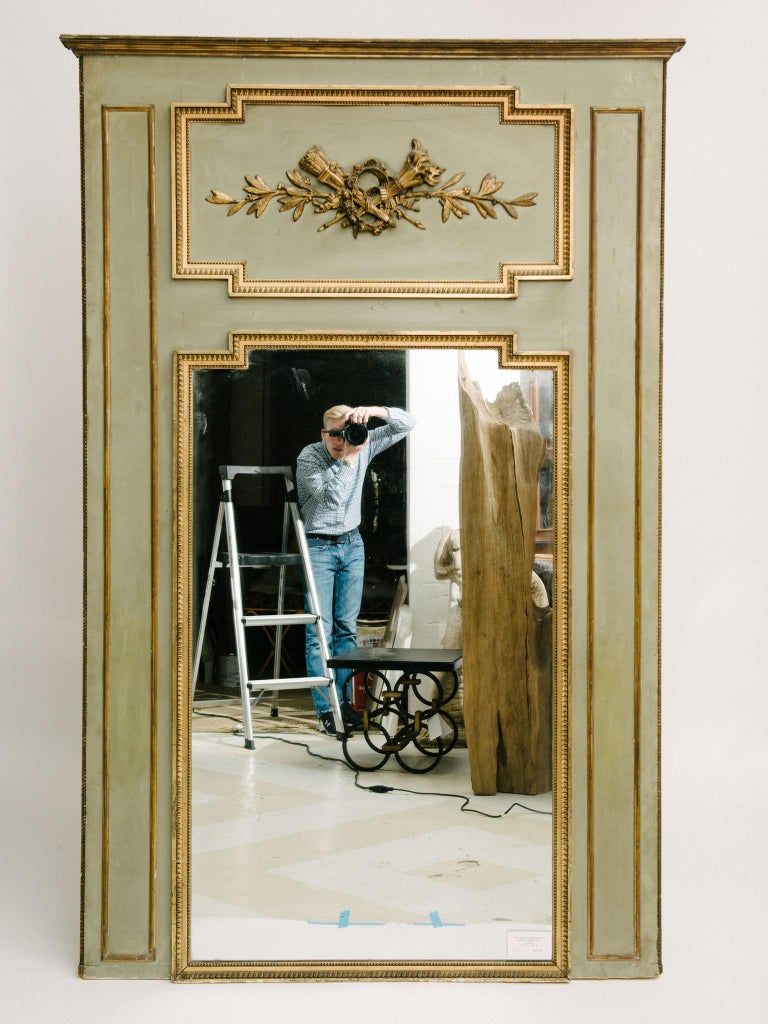 19th Century French Trumeau Mirror In Good Condition For Sale In Houston, TX