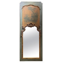 19th Century French Trumeau Mirror with Rococo Carving & Chinoiserie