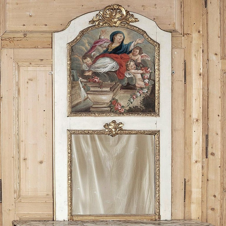 Romantic 19th Century French Trumeau with Hand Painted Madonna For Sale