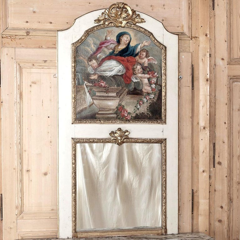 Hand-Painted 19th Century French Trumeau with Hand Painted Madonna For Sale