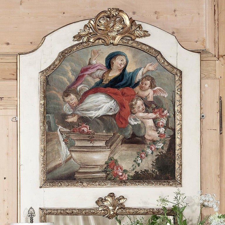 19th Century French Trumeau with Hand Painted Madonna In Good Condition For Sale In Dallas, TX
