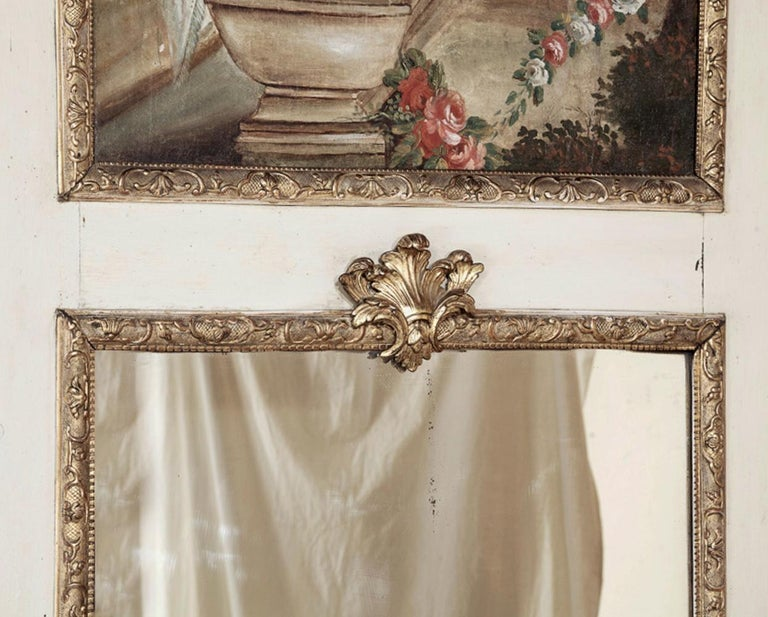 Canvas 19th Century French Trumeau with Hand Painted Madonna For Sale