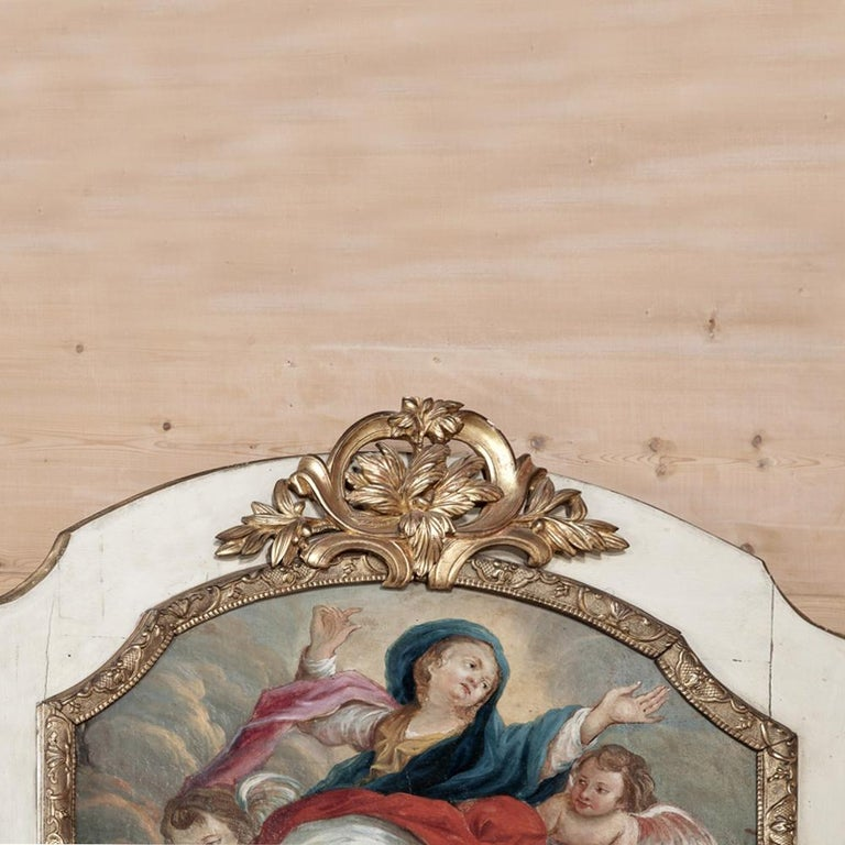 19th Century French Trumeau with Hand Painted Madonna For Sale 1
