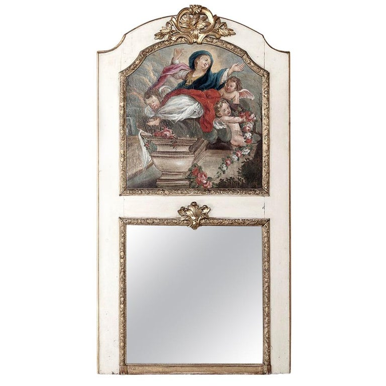 19th Century French Trumeau with Hand Painted Madonna For Sale