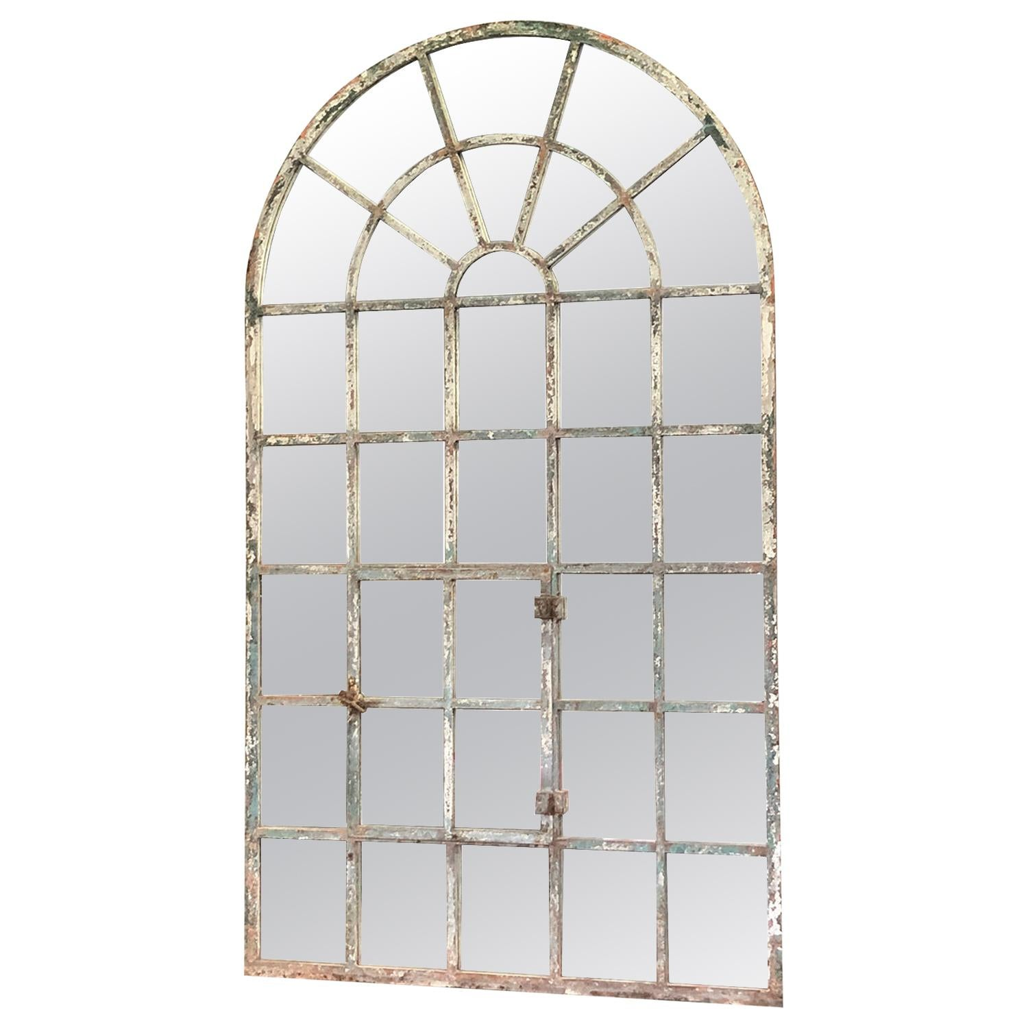 19th Century French Tuilleries Metal Wall Mirror, Antique Orangerie Iron Window