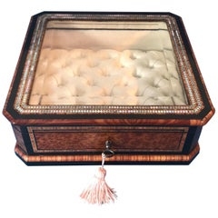 19th Century French Tulipwood Cross Banded, Burr Cedar Jewellery Display Box