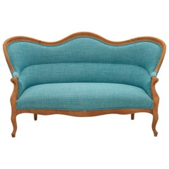 19th Century French Turquoise Linen Settee