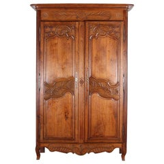 19th Century French Two Door Carved Oak Louis XV Armoire