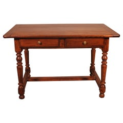 19th Century French Two Drawer Desk with Turned Feet