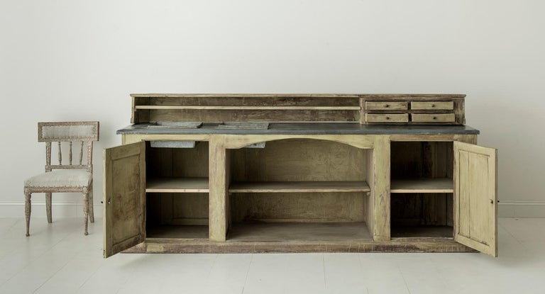 19th Century French Two-Part Painted Dry Bar with Zinc Top ...