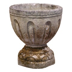 19th Century French Two-Piece Carved Patinated and Weathered Stone Planter