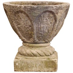 19th Century French Two-Piece Carved Patinated Stone Planter with Motifs