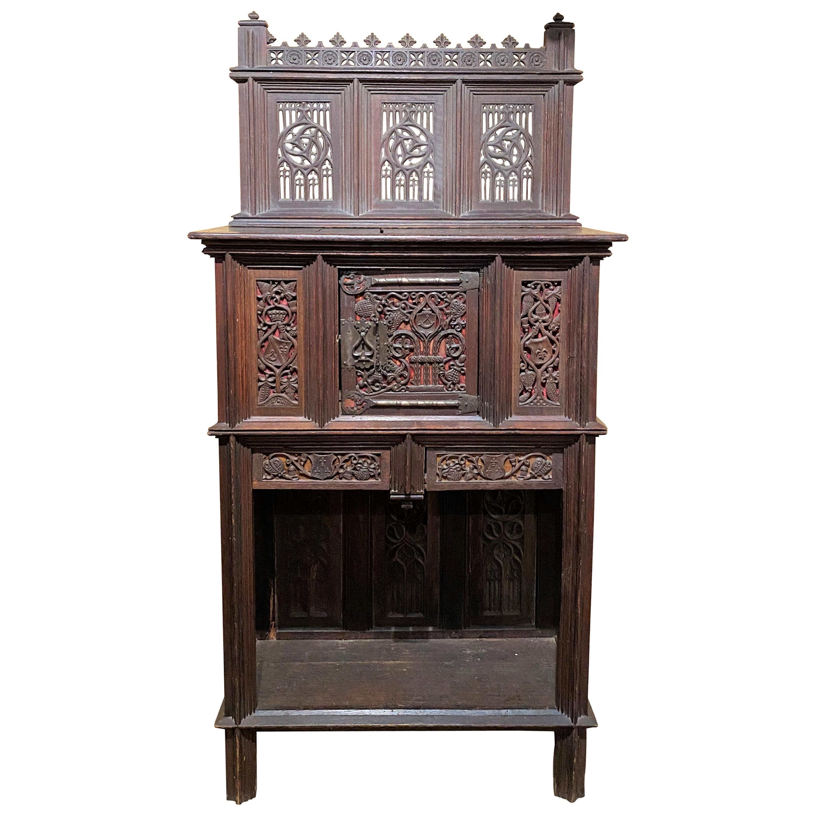 19th Century French Two-Piece Gothic Style Oak Cabinet