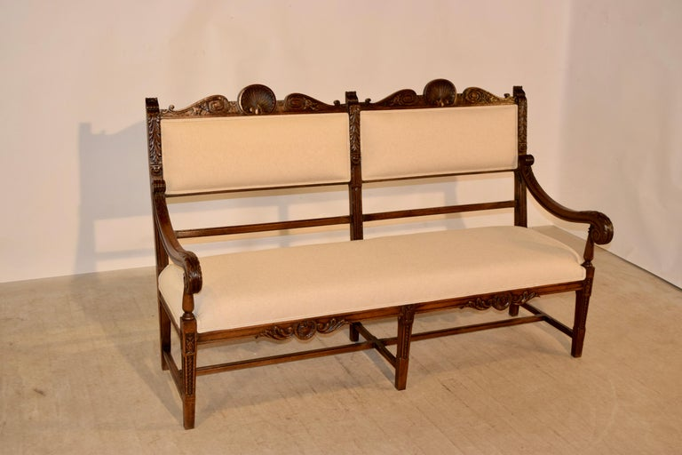 19th Century French Upholstered Bench For Sale 5