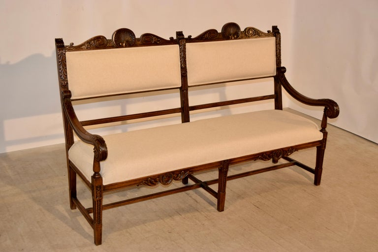 19th Century French Upholstered Bench In Good Condition For Sale In High Point, NC
