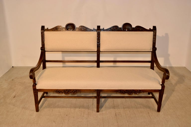 Linen 19th Century French Upholstered Bench For Sale