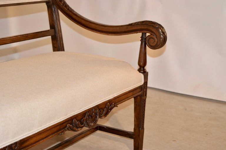 19th Century French Upholstered Bench For Sale 2