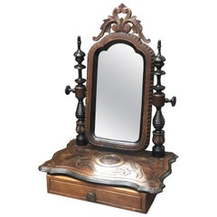 19th Century French Veneer Mirror in Hand Carved Walnut Wood with Front Drawer