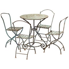 19th Century French Verdigris Iron Pedestal Table and Four Matching Chairs