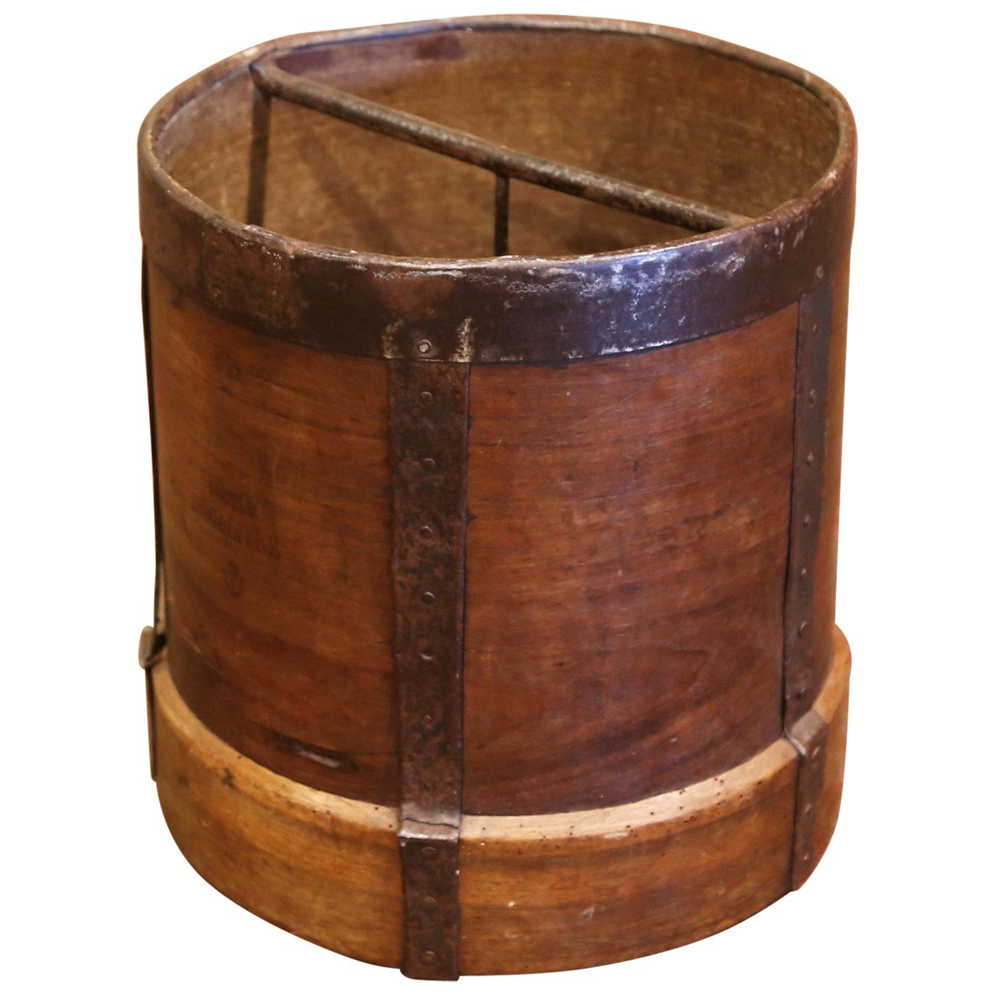 19th Century French Walnut and Iron Grain Measure Bucket or Waste Basket