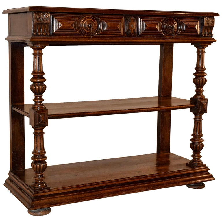 19th Century French Walnut Buffet For Sale