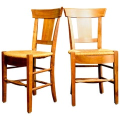 19th Century Ten French Walnut Chairs with Cane Seats