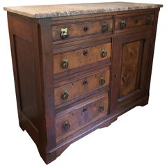 19th Century French Walnut Commode/Sideboard/Chest/Server with Marble Top