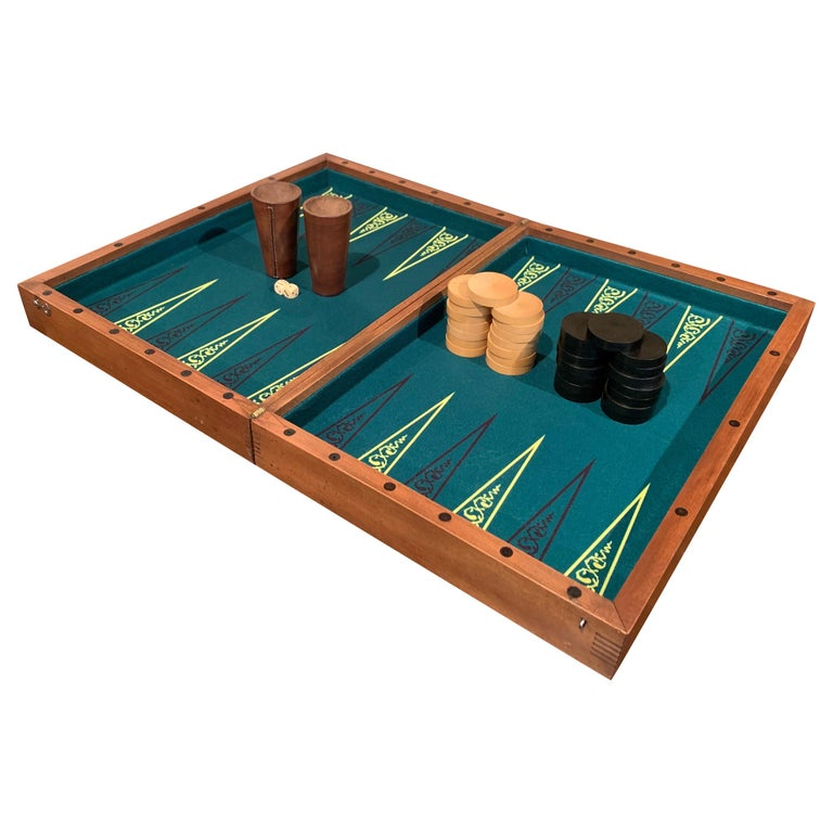 """lm 12/"""" Wood metal Backgammon Set board silver gold metal pieces dice Never used"""