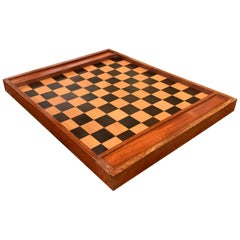 19th Century French Walnut Complete Checkers Board Game