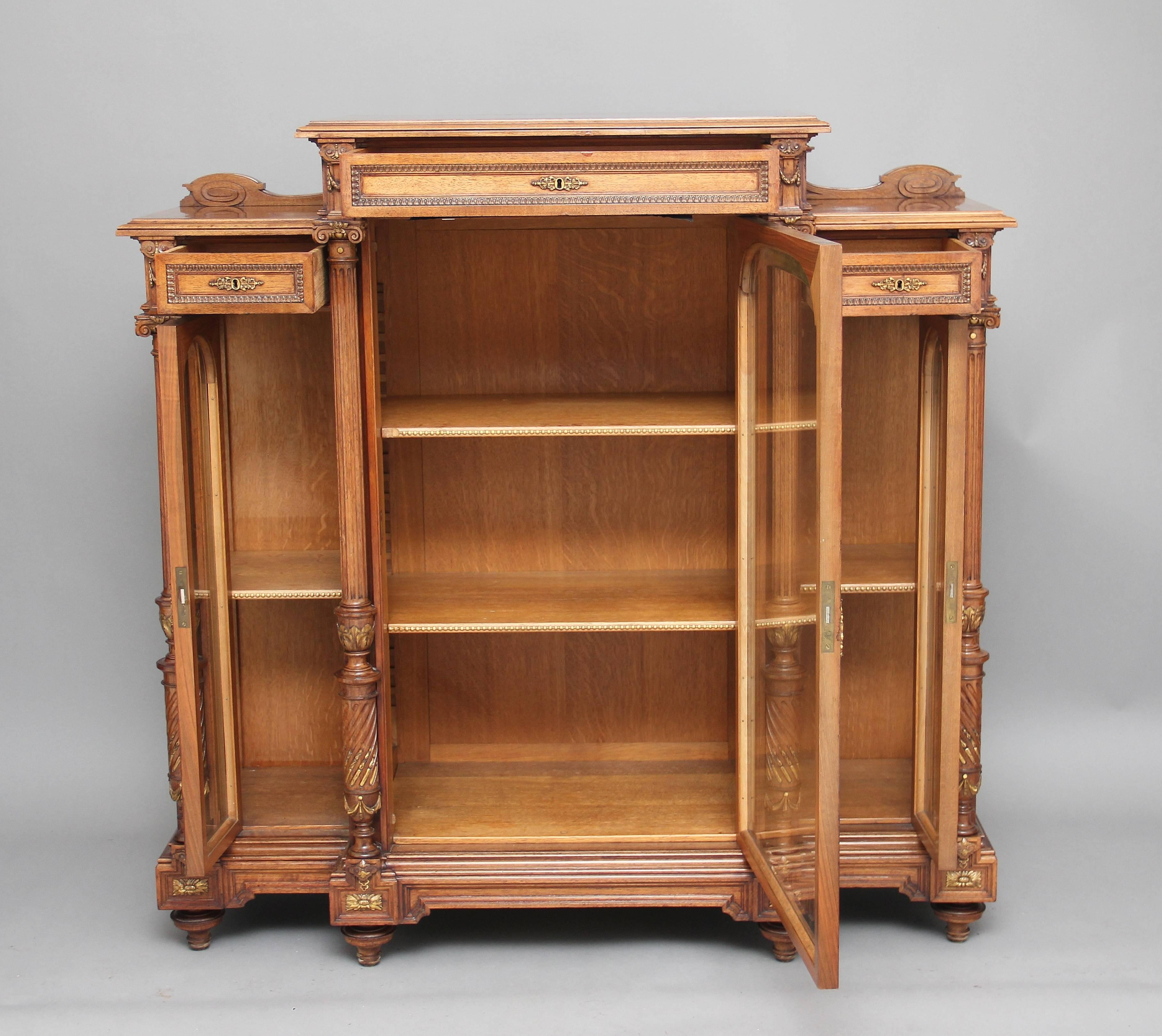 Contemplative Reproduction Antique Style Mahogany Bookcase Antique Furniture