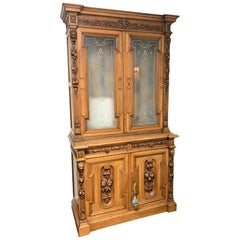 19th Century French Walnut & Etched Glass Bookcase Cabinet
